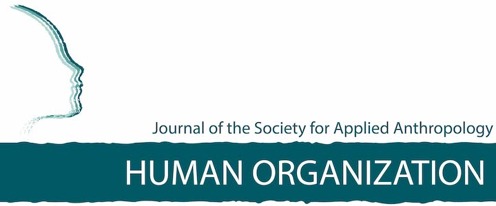 On the left, a profile of a face looking towards the center. Text: Journal of the Society for Applied Anthropology. Human Organization.